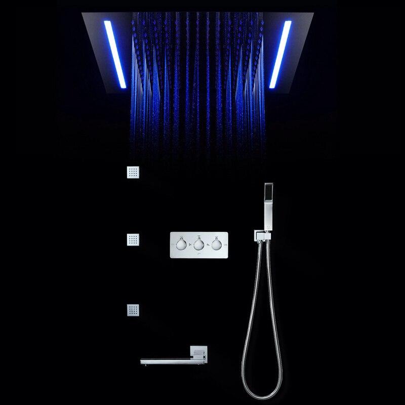 16 couleurs panneau de douche pluie écran de douche lumière LED télécommandée Massage SPA Jet trois poignées mélangeur robinet évier ensemble de robinet