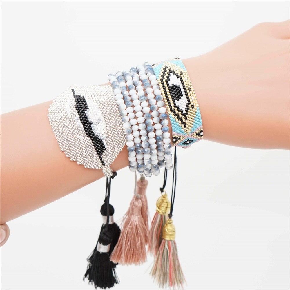 Shinus Evil Eye Bracelet Women Summer Jewelry Perles MIYUKI Bracelets 2019 Ins Bileklik Pulseras Lips Crystal Etsy Jewelry
