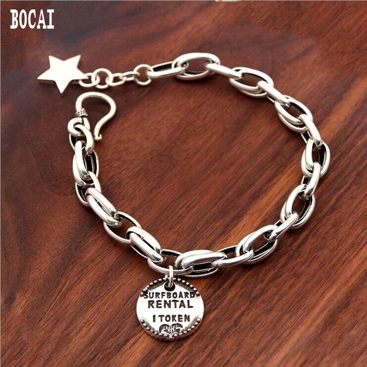 100% vrai 925 Bracelet en argent massif mode étoile Bracelet hommes et femmes à la main Vintage Thai Bracelet en argent