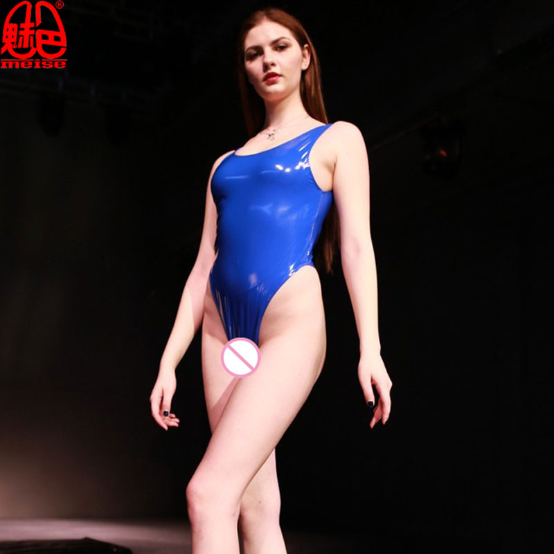 Latex PVC Shiny High Cut Bodysuit One Piece Swimwear Body Suit Catsuit Sexy Club Wear Erotic Lingerie Plus Size For Women G53 image