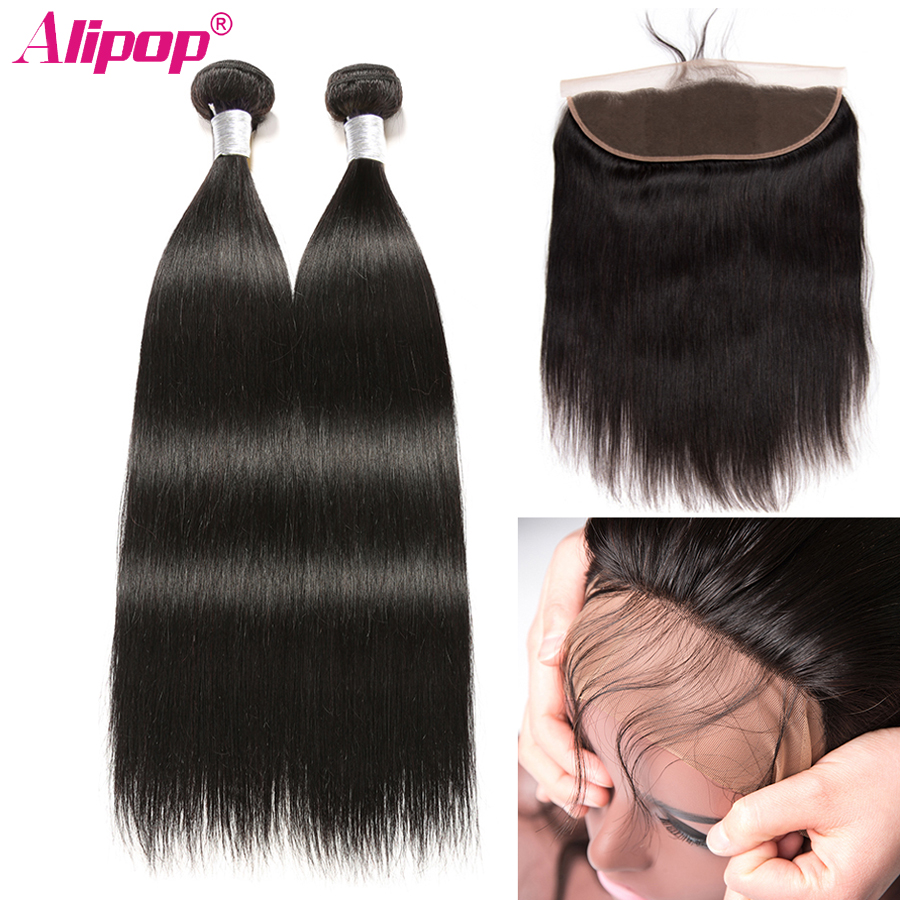 Straight Hair 2 Bundles With Frontal Brazilian Hair Remy Human Hair Bundles With Closure 13x4 Ear
