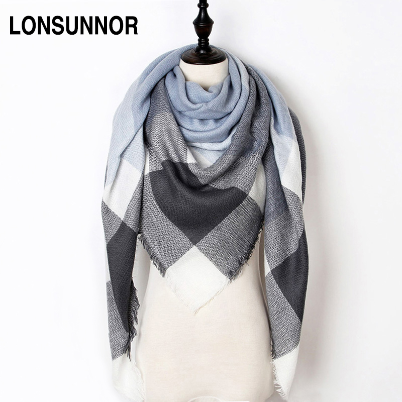 New Fashion Winter Scarf Women 2018 Triangle Warm Plaid Scarf Luxury Brand Ladies Cashmere Scarves and Shawls Drop Shipping