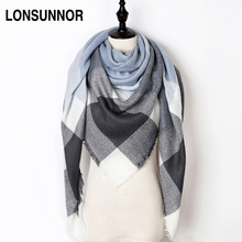 New Fashion Winter Scarf Women 2017 Triangle Warm Plaid Scarf Luxury Brand Ladies Cashmere Scarves and Shawls Drop Shipping