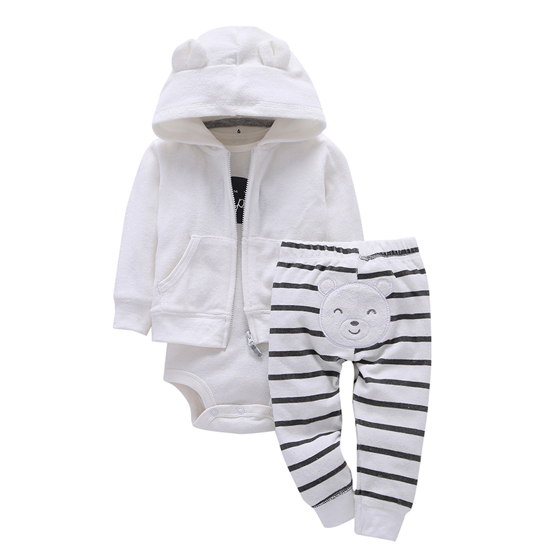 2019 Real Top Cotton Full 3pcs set Baby Girl Clothes Sets Long Sleeved Coat cartoon Pattern Romper pants Clothing Set Children in Clothing Sets from Mother Kids
