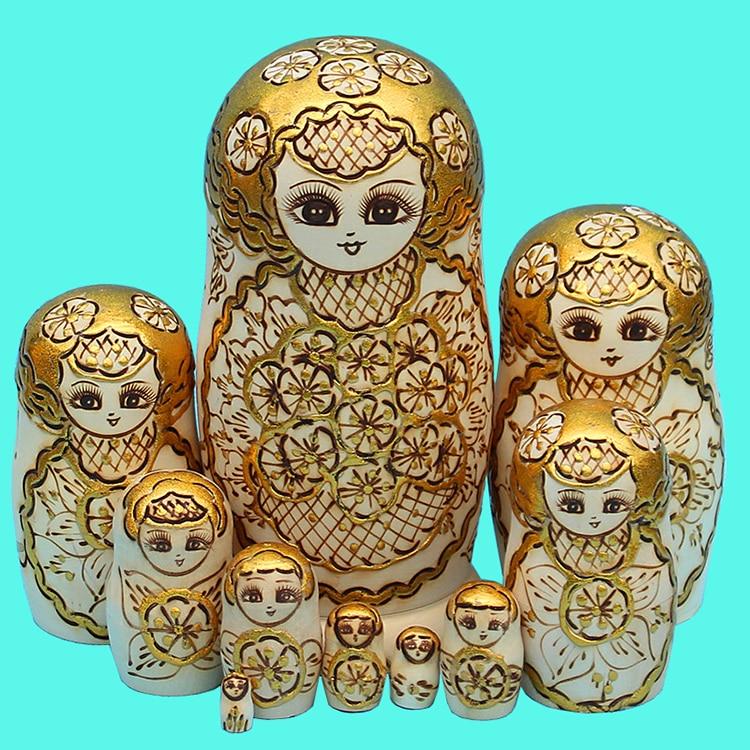 10pcs/set Wood Doll Russian Nesting Dolls Traditional Matryoshka Dolls Creative Christmas Gifts Toys Wood Crafts Home Decoration