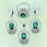 Reginababy Silver color Green Rhinestone White Cubic Zircon Jewelry Sets For Women Ring/Earrings/Pendant/Necklace 925 logo