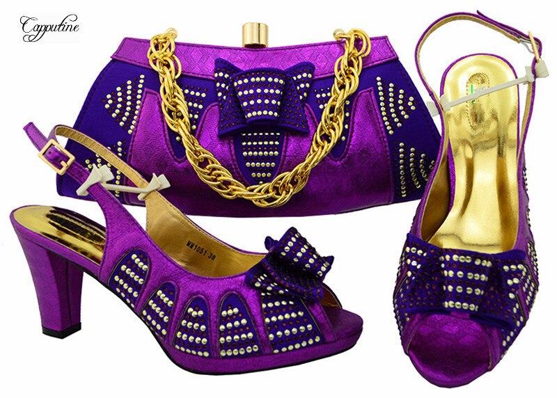 Отлично Фиолетовый Высокий каблук Сандалии обувь с сумочкой комплект приятно соответствия для вечернее платье MM1051, высота каблука 8,5 см
