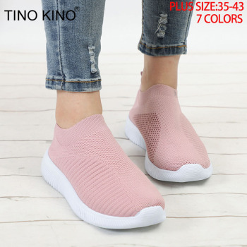 Women's Sneakers Flat Knitting Autumn Mesh Shoes 2019 New Plus Size Female Vulcanized Ladies Slip On Breathable Casual Footwear