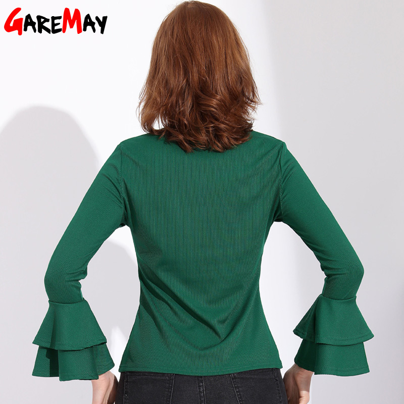 f2d49f0df2a9 GAREMAY Office Women Ruffle Shirt Blouse Chemise Femme Womens Tops And  Blouses Long Sleeve 2018 Top Female Shirt Feminine Blouse-in Blouses    Shirts from ...