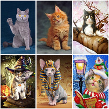 Full Square Drill Cat 5D Resin Diamond Painting Round Animal 3D Images Embroidery Cross Stitch Home Decor Single Gift