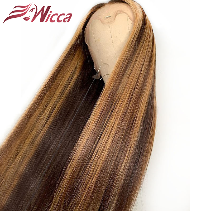 HTB18PRCaAY2gK0jSZFgq6A5OFXaq Wicca Highlight 13x6 Lace Front Human Hair Wigs With Baby Hair 8-24 Inches Brazilian Remy Hair Bleached Knots