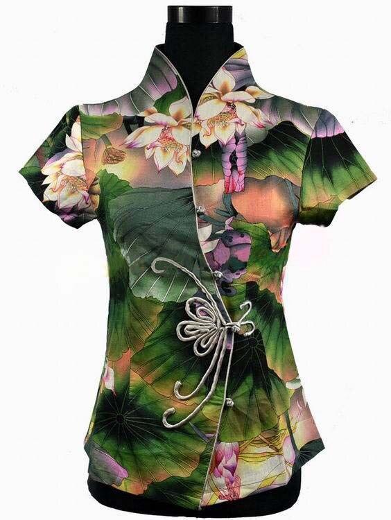 Venta caliente Verde Verano de Las Mujeres Chinas de Algodón Con Cuello En V Cam
