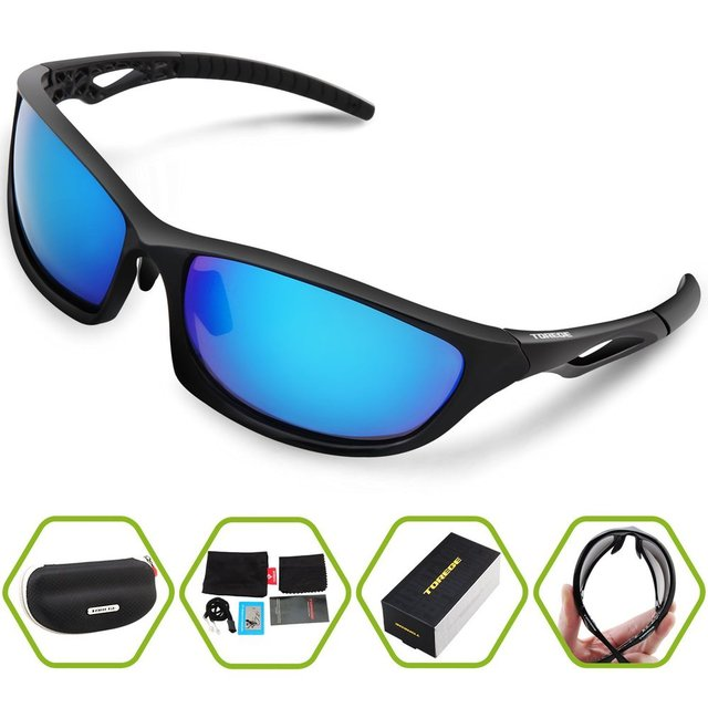 13bc35ac12 TOREGE Polarized Sunglasses For Men Women TR90 Unbreakable Frame  Lightweight UV 400 Fashion Goggle Style Eyewear