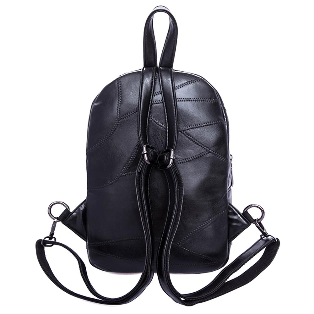 Rivets Backpack women Genuine Leather sheepskin Punk Style skull Rivet  Backpacks Black bagpack travel school girls backpacks -in Backpacks from  Luggage ... 3def8cb8855ef