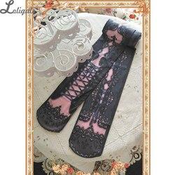 الحلو لوليتا جوارب طويلة فيكتوريا مشد المطبوعة الجوارب مثير الدانتيل القوطية خمر جوارب طويلة