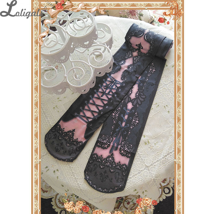 Sweet Lolita Pantyhose Victoria Corset Printed Tights Sexy Lace Gothic Vintage Pantyhose