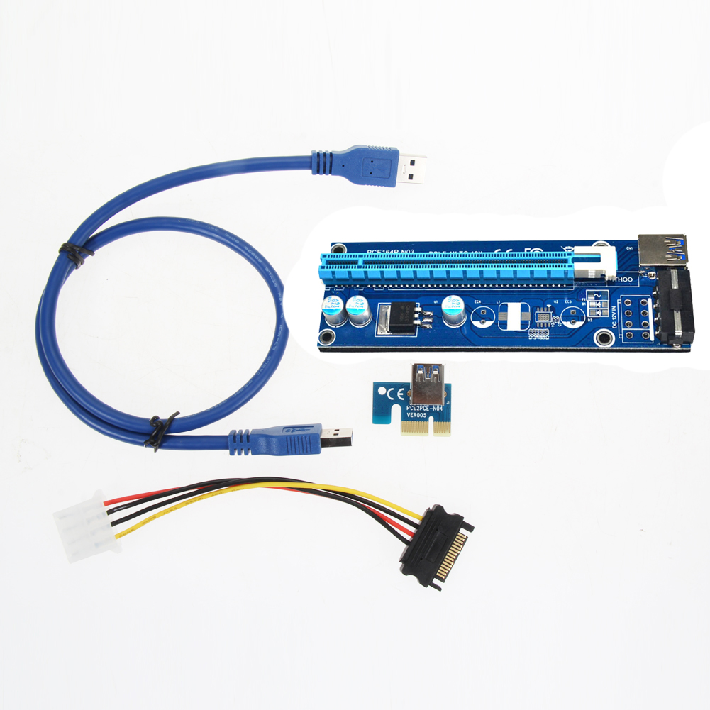 PCI-E 1x to 16x PCI Express Riser Card SATA to 4Pin IDE with Power Supply USB 3.0 Data Cable 30cm/ 60cm for BTC Miner Machine