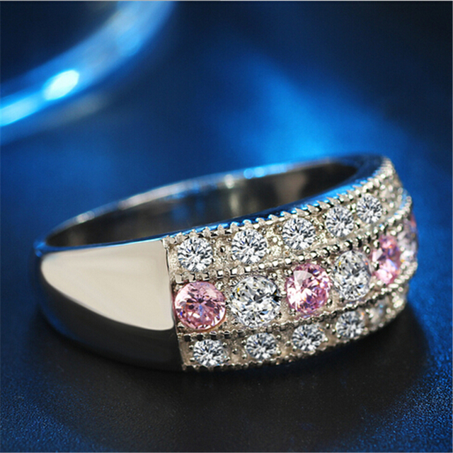 Luxury Female 925 Silver Ring Set Bridal High Quality Silver Filled Jewelry Vintage Wedding Rings For Women Girlfriend Gifts