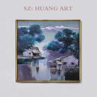 Original of purple landscape oil painting artist Vietnam huts modern style decorating children room porch rural night scenery
