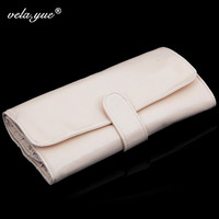 High Quality Makeup Brushes Bag Pouch For 18pcs Brushes Cosmetic Bag Beige Black Grainy PU Leather