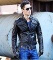 Бесплатная Доставка. DHl байкер Марка зимняя мода мужчины натуральной кожи куртка одежда, прохладный тонкий куртки, человек motorbiker теплое пальто