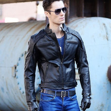VANLED Shipping.DHl biker winter genuine leather jacket clothing slim jackets man