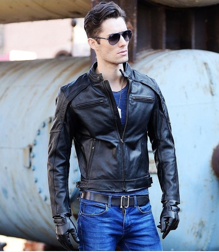 Erkek Kıyafeti'ten Hakiki Deri Montlar'de Ücretsiz Kargo. DHl biker Marka kış moda erkek hakiki deri ceket giyim, serin ince ceketler, erkek motorbiker sıcak tutan kaban'da  Grup 1