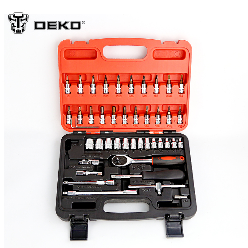 DEKOPRO 46pcs Auto Repair Tool Combination Package Socket Wrench Woodworking Hand Tools Set