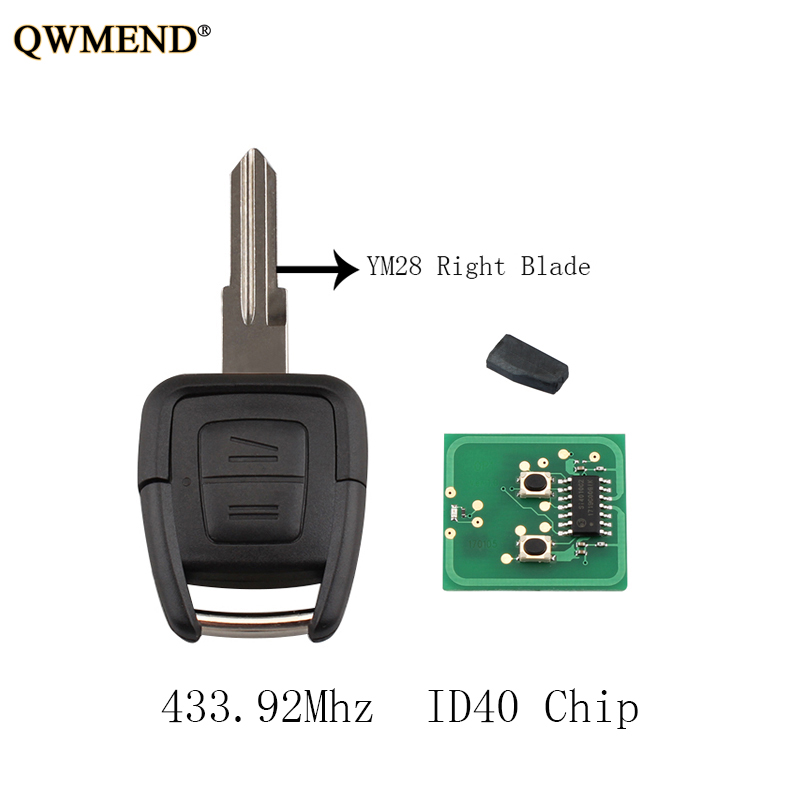 QWMEND 2Buttons Remote Key ID40 Chip For Vauxhall Opel Astra Vectra 433.92MHz YM28 Right Blade Original Keys