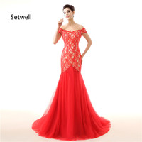Setwell Sexy V Neck Mermaid Wedding Dresses Off The Shoulder Bohemian Backless Bridal Gown Simple Red Lace Wedding Dress