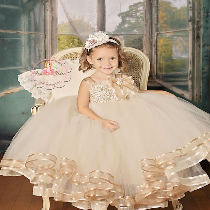 Pageant Dresses for Girls Glitz Ball Gown Kids Beauty Pageant Dresses Ankle-Length Flower Girl Dress Brown Mother Daughter Dress new arrival 2017 children party dress for girls 2 to 10 years beauty glitz cupcake pageant special occasion dresses baby