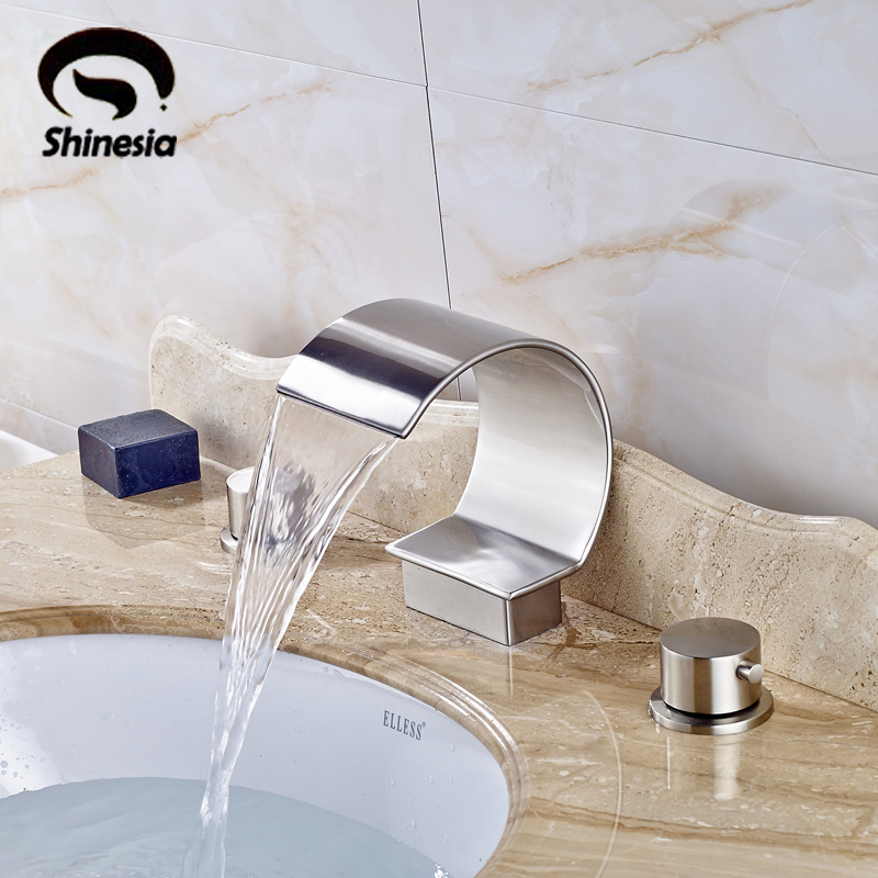 Nickel Brushed Bathroom Sink Faucet Widespread 3pcs Faucet Double Handles Mixer Tap Deck Mount nickel brushed led waterfall bathroom sink faucet double handles mixer tap widespread 3pcs basin mixer tap