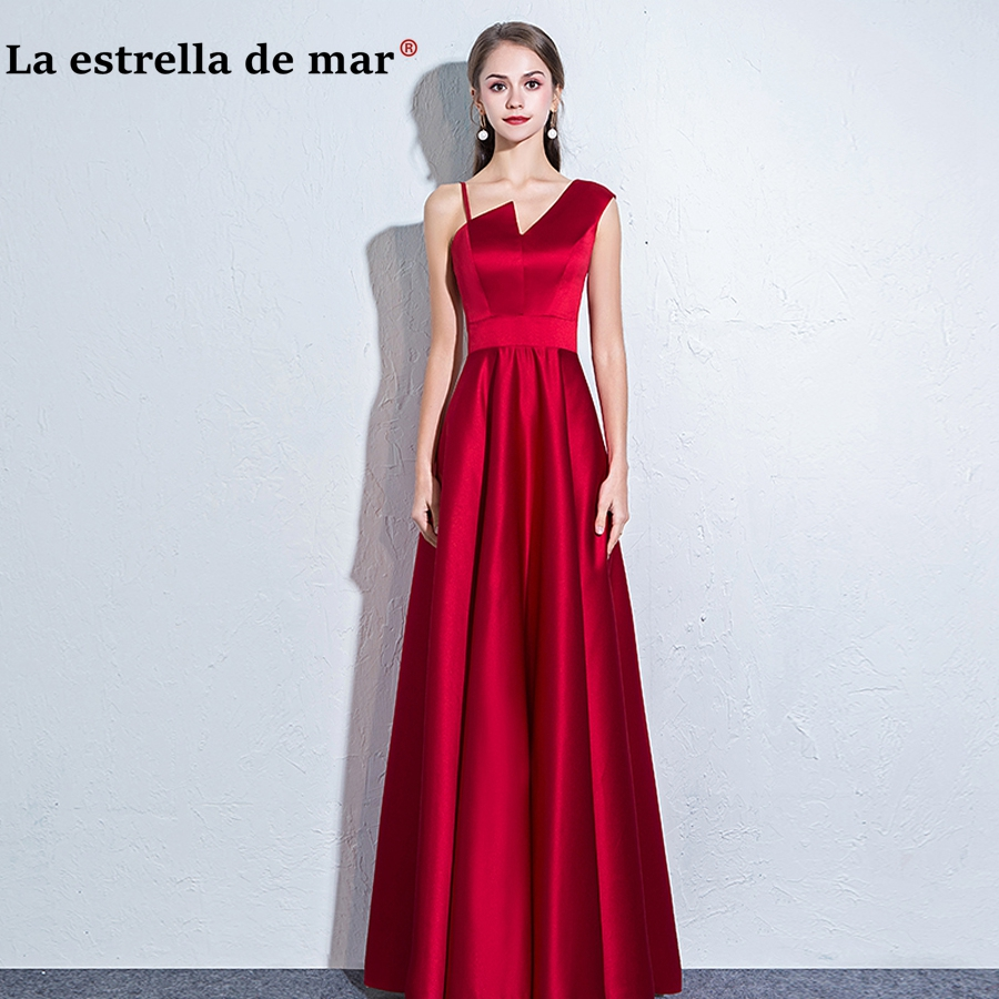 vestido madrinha longo hot sexy V neck satin A Line burgundy black   bridesmaid     dresses   simple brautjungfer kleider