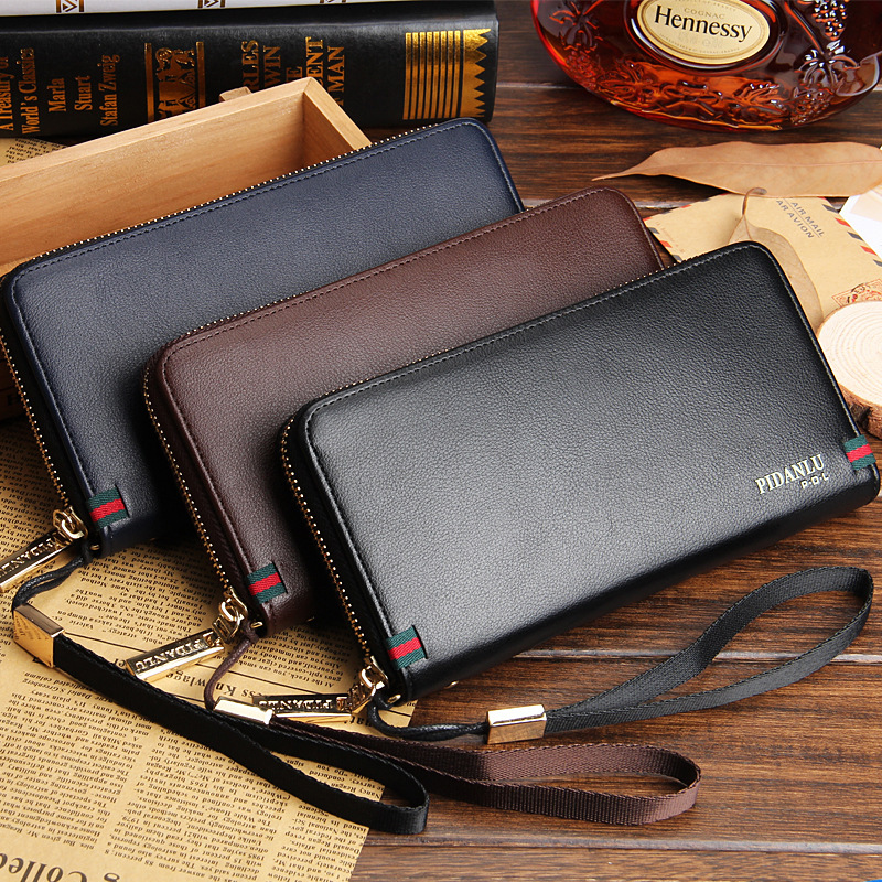 2016 Men Wallets Business Brand Card Holder Coin Purse Men's Long Zipper Wallet Leather Clutch Carteira Masculina