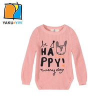 YKYY YAKUYIYI Cartoon Character Letter Embroidered Girl Sweater Solid Pink Baby Pullovers Casual Children Clothing