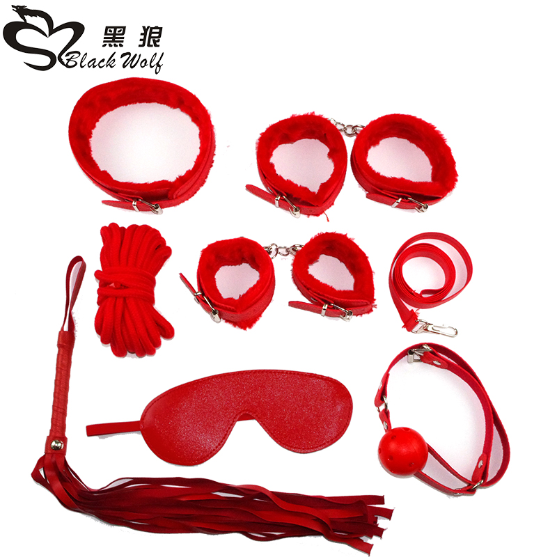 erotic adult sex products 7 games leather handcuffs whip rope slavery Mask BDSM fetish sex toy lovers of slavery constraint
