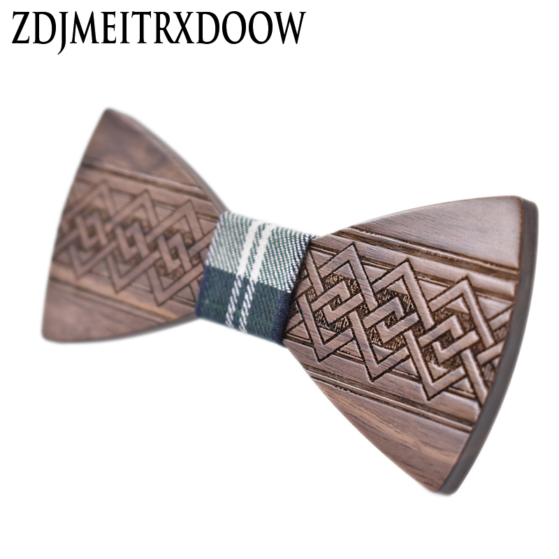 ZDJMEITRXDOOW Wooden Bowknot Bow Tie Men Male Wedding Party Chinese Craving Wood Butterfly Neck Bow Tie Gravata