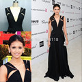 2016 New Arrival Bandage Dress Nina Dobrev Sexy Slim Fitted Floor Length Chiffon Evening Gown Split Hollow Out Celebrity Dresses
