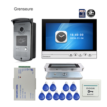 Free Shipping 9″ Color Screen UI Display Video Door Phone Intercom Recording System RFID Access Doorbell Camera + Magnetic Lock