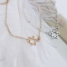 HUMANO FINO 2 Colors New Fashion Hollow Hexagram Six-star Bracelet Gold Silver Plated Fow women Men Child Gift Feminina Jewelry