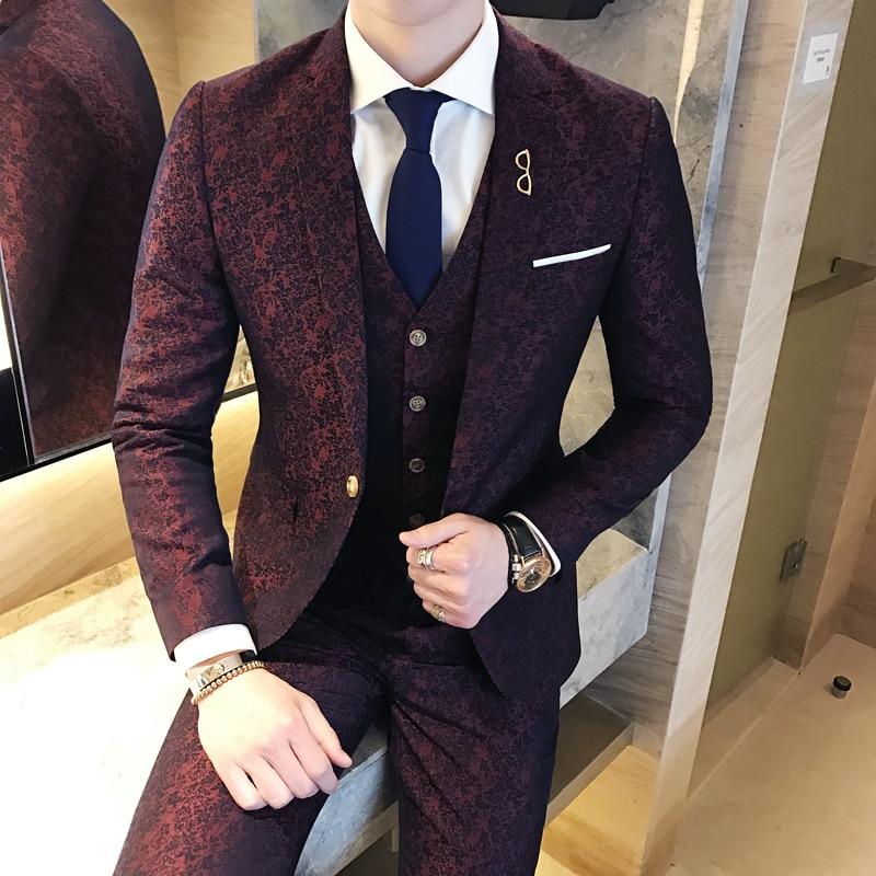 Мужские свадебные костюмы 2018 Terno Masculino Slim fit, мужские костюмы из 3 предметов, бордовые, для социальных клубов, красные, мужские фиолетовые кост