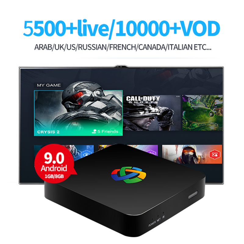 XiPu industrie IPTV BOX p6 1 gb 8 gb OS9.0 rk3229 arabe 4 k android tv box uk usa russe indien français italie albanie smart tv box