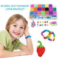 6800pc DIY Toys Rubber Loom Bands Set Kid DIY Bracelet Silicone Rubber Bands Elastic Rainbow Weave Loom Bands Toy Children Goods