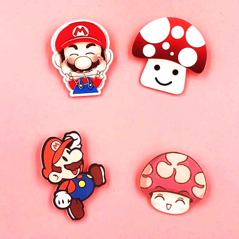 1Pcs Lovely Cartoon Super Marie Mushroom Acrylic Badges Pins Brooches For Women Clothing Backpack Decoration Badge Kids Gift
