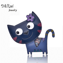 Cute Enamel Brooch Female Pins Cat 2017 New Fashion Jewelry Zinc Alloy Girls Brooches Dress Accessories
