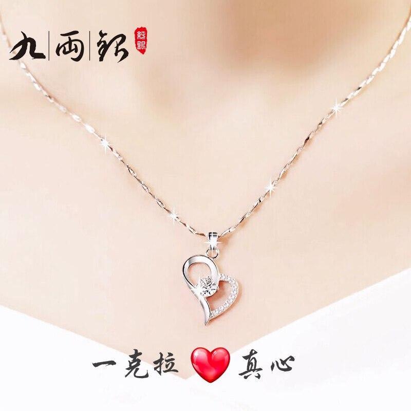 4 couleurs rose amour coeur forme nouveauté colliers pendentif mode réel 100% pur 925 sterling-argent-bijoux mignon simple
