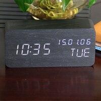 Modern Wooden Wood USB/AAA Digital LED Alarm Clock Calendar Thermometer Date US