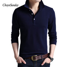 2018 Top Grade New Fashion Men Polo Shirt Solid Color Slim Fit Polo Men Long Sleeve Mercerized Cotton Casual Men Plus C(China)