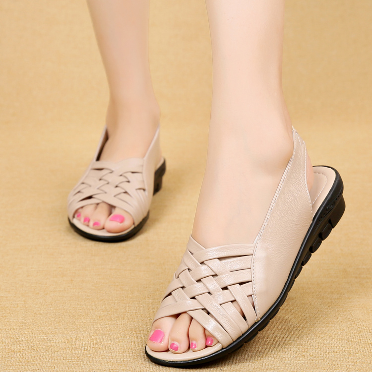 Image 4 - 2020 Summer Women Shoes Woman Genuine Leather Flat Sandals Open Toe Mother Wedges Casual Sandals Women Sandals Black Big SizeLow Heels   -