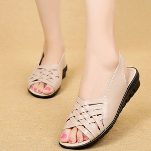 Image 4 - 2020 Summer Women Shoes Woman Genuine Leather Flat Sandals Open Toe Mother Wedges Casual Sandals Women Sandals Black Big Size